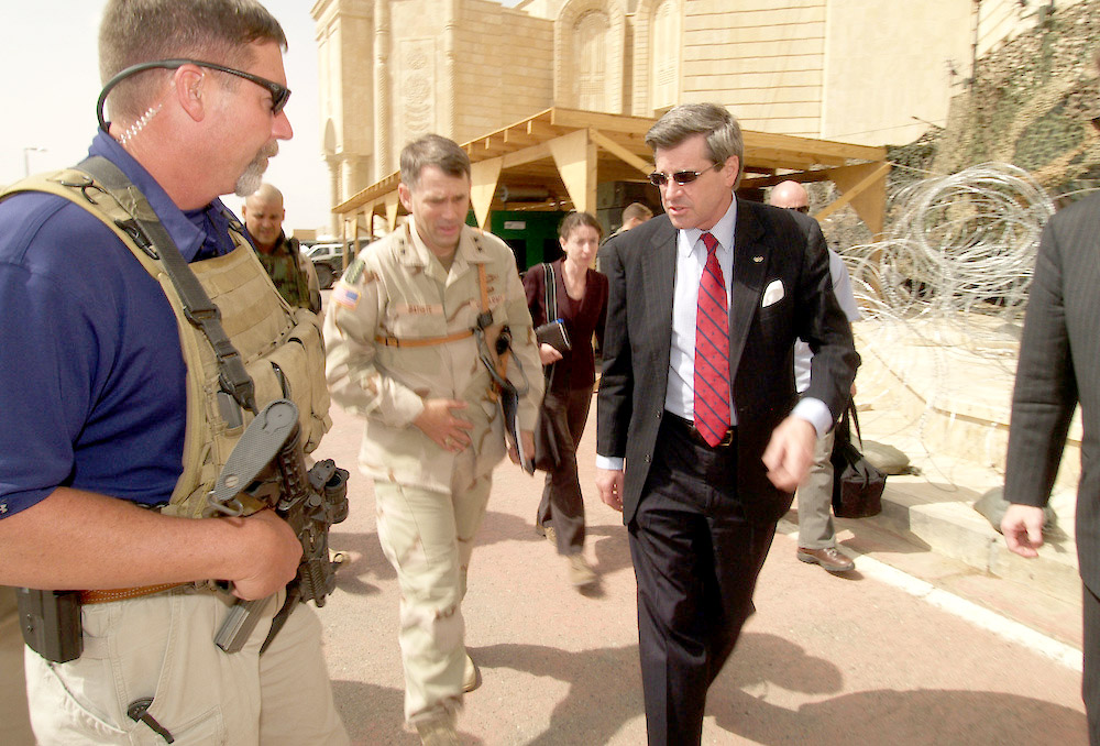 23 April 2004 Tikrit, Iraq. US Ambassador to Iraq Paul Bremer makes a visit to Tikrit. Amidst the tightest of security the Ambassador flew from Baghdad to the US Forces base in one of Saddams palaces in Tikrit. Four BlackHawk helicopters and two Apaches ferried the Ambassador and his team of aides and close protection security guards between the cities. After almost one year in Iraq and as the 30th June deadline approaches Mr Bremer is the number one target for any anti coalition insurgent groups.